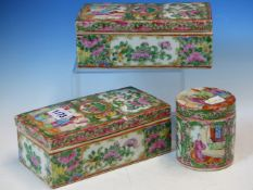 TWO SIMILAR CANTON BRUSH BOXES AND COVERS TOGETHER WITH A CANTON CYLINDRICAL JAR AND COVER. H 9cms.