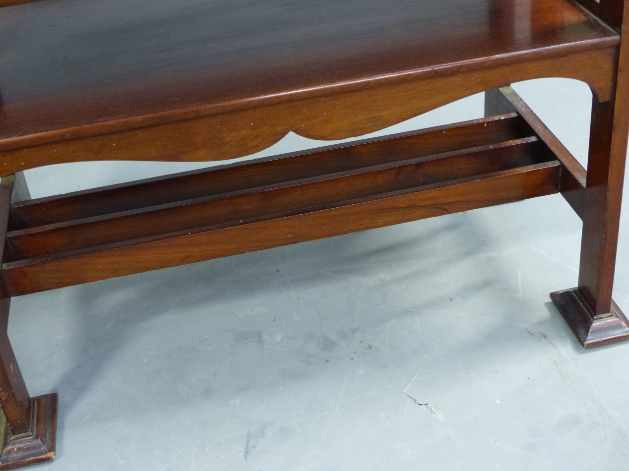 AN ARTS AND CRAFTS STYLE MAHOGANY MUSIC SHELF IN THE MANNER OF SHOOLBRED. 56cm x 31cm x 93cm (H). - Image 7 of 12