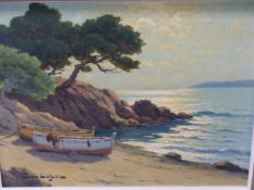 20th.C. CONTINENTAL SCHOOL. A COASTAL VIEW. OIL ON CANVAS, SIGNED INDISTINCTLY. 33 x 42cms.