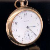 A GOLD PLATED ELGIN OPEN FACE POCKET WATCH. DIAMETER 38mm. GROSS WEIGHT 68.4grms.