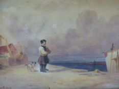 19th.C. ENGLISH SCHOOL. THE QUAYSIDE. WATERCOLOUR, SIGNED INDISTINCTLY. 21 x 29cms.