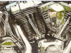 "STEVE GATHERCOLE. ARR. A FINE AND RARE HYPER REALIST STUDY ""HARLEY STREET BIKE ENGINE"""