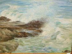 ATTRIBUTED TO JOHN WHEATLEY (1892-1955). ARR. A COASTAL VIEW. OIL ON BOARD, ARTISTS LABEL VERSO.