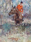 AFTER MICHAEL LYNE (1912-1989). ARR. A HUNTSMAN PURSUING A FOX. PENCIL SIGNED COLOUR PRINT. FROST