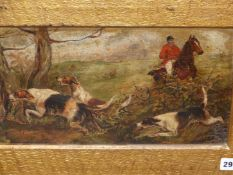 LATE 19th.C. ENGLISH SCHOOL. A PAIR OF HUNTING SCENES. OIL ON BOARD, FRAMED AS ONE. 22 x 41cms.