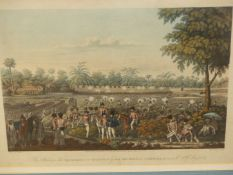 AFTER J. MOORE. AN ANTIQUE HAND COLOURED PRINT ENTITLED 'THE ATTACK UPON THE STOCKADES NEAR