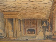 CIRCLE OF JOSEPH NASH (19th.C. ENGLISH SCHOOL). TWO PAIRS OF INTERIOR VIEWS IN MAPLE FRAMES. LARGEST