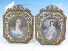 THREE DECORATIVE PORTRAIT MINIATURES OF LADIES, TWO IN EASEL BACKED BRASS FILIGREE FRAMES AND THE