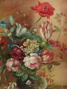 G.A. PUMFREY (20th.C. SCHOOL). ARR. FLORAL STILL LIFE. OIL ON CANVAS, SIGNED. 61 x 51cms. TOGETHER