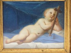 ITALIAN SCHOOL AFTER THE OLD MASTERS. THE CHRIST CHILD. WATERCOLOUR. 11 x 14cms.