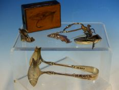 A HALLMARKED SILVER FISHERMAN AND BOAT WITH ARTICUALTING FISH AND OARS, A PAIR OF HALLMARKED