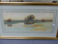 GEORGE OYSTON (1860-1937). SHEEP BY A RIVER. SIGNED WATERCOLOUR. 22.5 x 52cms.