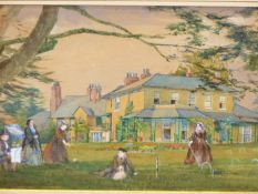 19th.C. ENGLISH SCHOOL. CROQUET ON THE LAWN. WATERCOLOUR, SHAPED MOUNT. 21 x 51cms.