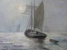 20th.C. ENGLISH SCHOOL. FISHING BOATS IN THE MIST. OIL ON CANVAS, SIGNED INDISTINCTLY. 72 x 92cms.