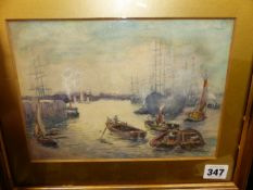 G. MARK COOK (EARLY 20th.C. ENGLISH SCHOOL). A BUSY HARBOUR. WATERCOLOUR, SIGNED. 17 x 24cms.