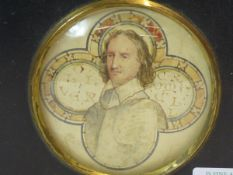 A WATERCOLOUR PORTRAIT MINIATURE OF OLIVER CROMWELL IN ARMOUR DEPICTED IN A QUATREFOIL, THE ROUNDELS