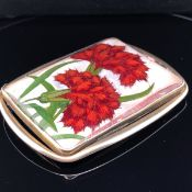A 20th C. CONTINENTAL SILVER AND ENAMEL BUCKLE, SIGNED KK, POSSIBLY FOR KARL KARLSSON, MEASURMENTS
