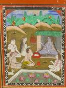 AN INDIAN MINIATURE PAINTING OF SEATED FIGURES PAYING HOMAGE TO A LEADER. 16.5 x 11.5cms. TOGETHER