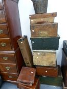 A QUANTITY OF TRUNKS, DEED BOXES ETC.