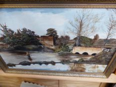 A LARGE OIL ON CANVAS, FISHERMAN BY A BRIDGE SIGNED.