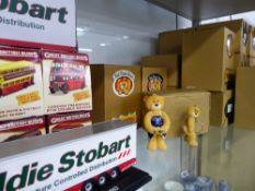 A COLLECTION OF BAD TASTE BEARS IN ORIGINAL BOXES, AND A DISPLAY SHELF, A QUANTITY OF DIE CAST