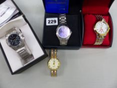 THREE BOXED GENTS WRIST WATCHES AND ONE OTHER.