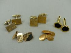 A PAIR OF 9ct GOLD HALLMARKED CUFFLINKS AND FURTHER PAIR OF 18ct GOLD CUFFLINKS AND THREE PLATED