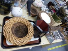 VARIOUS BASKETS, DRINKS STANDS, TRAYS ETC.
