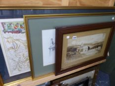 TWO VINTAGE MAPS, A PENCIL STUDY OF ROOF TOPS, AND A WATERCOLOUR.
