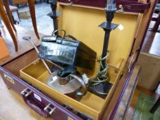 A PAIR OF TABLE LAMPS, A SMALL JEWELLERY BOX, A BRIEF CASE, A SMALL WATERING CAN ETC.