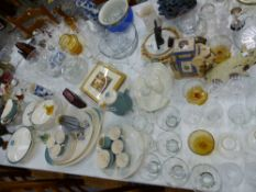A LARGE COLLECTION OF CUT GLASS WARES, A DOULTON PART DINNER SERVICE, ORNAMENTAL WARES ETC.