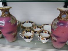 AN EDWARDIAN TEA SET AND TWO JAPANESE VASES.