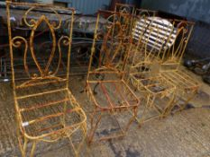 A SET OF EIGHT PAINTED WROUGHT IRON CHAIR FRAMES.