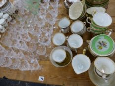 A QUANTITY OF EDWARDIAN AND LATER TEA WARES, AND A QUANTITY OF CUT GLASS.