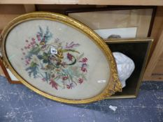 ANTIQUE NEEDLEPOINT PANEL, A WATERCOLOUR ETC.