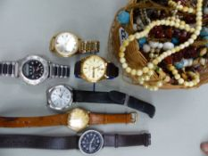 FOUR GENTS DRESS WRIST WATCHES, AND A QUANTITY OF COSTUME JEWELLERY.