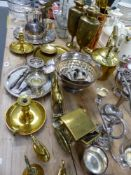 A QUANTITY OF BRASS PLATED WARES, CUT GLASS ETC.