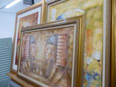 THREE LARGE EGYPTIAN STYLE DECORATIVE PICTURES.