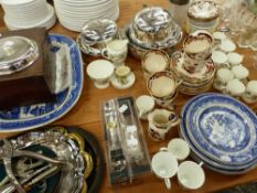A MASONS BLUE MANDALAY PART TEA SET, WEDGWOOD COFFEE CANS, PLATED WARES, A WORK BOX ETC.