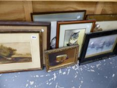 A GROUP OF VICTORIAN AND LATER WATERCOLOURS, PRINTS ETC.