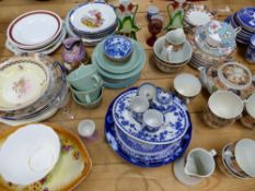 AN EDWARDIAN PART TEA SERVICE, AND OTHER DECORATIVE PLATES AND ORNAMENTS.