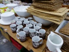 A QUANTITY OF NEW AND UNUSED HOMEWARE PLATES, CUPS, ETC.