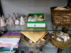A QUANTITY OF SEA SHELLS, TABLE LINENS ETC.
