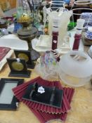 AN OIL LAMP, PICTURE FRAMES ETC.