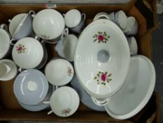 A ROYAL DOULTON CHATEAU ROSE PART TEA AND DINNER SERVICE.