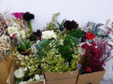 AN EXTENSIVE COLLECTION OF ARTIFICIAL FLOWERS, FLOWER PAILS, DISPLAY STANDS ETC.