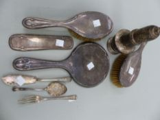 A LARGE SILVER HALLMARKED CASTER (AF), TWO SILVER BACKED BRUSHES ETC.