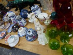 A COALPORT FIGURINE, WEDGWOOD JASPER WARES, COLOURED GLASS SILVER PLATED WARES ETC.