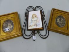 AN ART NOUVEAU BRASS FRAME, TWO 19th C. ENGRAVINGS AND A WATERCOLOUR PORTRAIT, ETC.