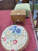 TWO ANTIQUE STOOLS AND A MINIATURE CHEST OF DRAWERS.